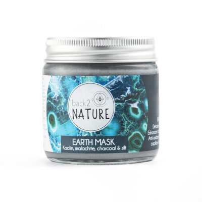 B2N Earth Mask | kaolin clay, malachite crystal, charcoal and silt 100ml