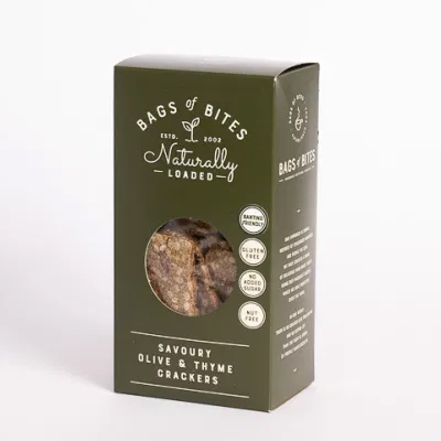 Bags of Bites Naturally Loaded Wheat free, Dairy free Savoury Olive crackers 200g