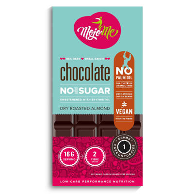 MojoMe Sugar Free Chocolate – Dry Roasted Almond 80g (86% Cacao)