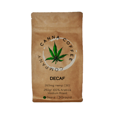 Canna Coffee Organic Decaf Coffee Beans Infused with CBD | 250gr | Italian Roast
