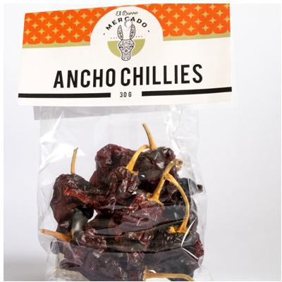 El Burro Mercado Dried Ancho Chillies 30g