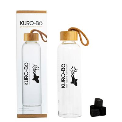 KURO-Bō Go-Eco Glass Water Bottle 500ml With Koins