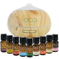 Oco Life | Light Wood Grain Ultrasonic Diffuser 400ml with complete range of 9 best selling oils