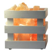 Saltpur |  Himalayan Salt Wooden Box Lamp | White