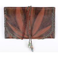 Cypher Crafts | Smoke Pouch – Brown with stained leaves detail