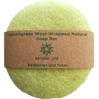 Natural Life   Lemongrass Wool wrapped Natural Soap Bar  Lime