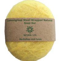 Natural Life | Lemongrass Woolm wrapped Natural Soap Bar Yellow
