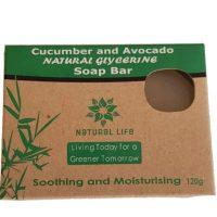 Natural Life   Natural Soap Bar Cucumber and Avo (Large) 120g