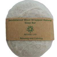 Natural Life   Sandalwood Wool wrapped Natural Soap Bar Grey