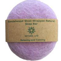 Natural Life | Sandalwood Wool wrapped Natural Soap Bar Purple